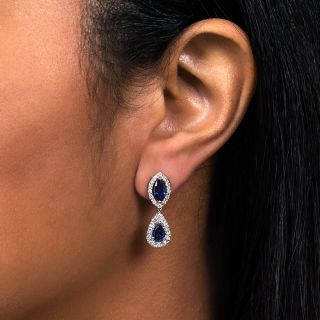 Estate Sapphire and Diamond Drop Earrings