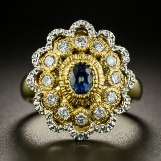 Estate Sapphire and Diamond Flower Cocktail Ring - 2