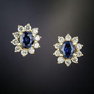Estate Sapphire and Diamond Halo Earrings - 2
