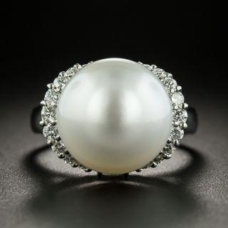 Estate South Sea Pearl and Diamond Ring - 3