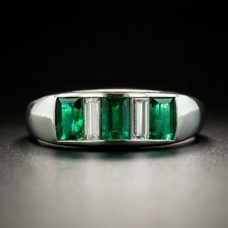 Estate Three-Stone Emerald and Diamond Band Ring - 1