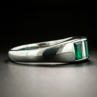 Estate Three-Stone Emerald and Diamond Band Ring