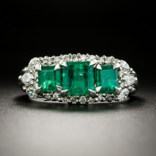 Estate Three-Stone Emerald and Diamond Ring - 3