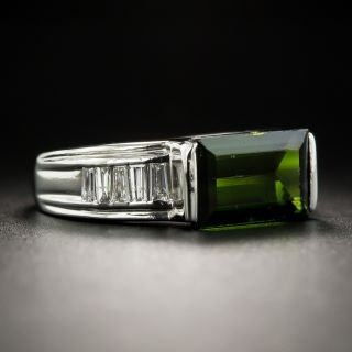 Estate Tourmaline and Baguette Diamond Ring