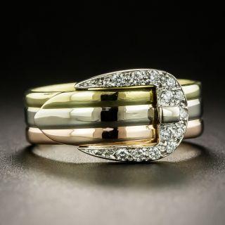 Estate Tri-Tone Diamond Buckle Ring - 2
