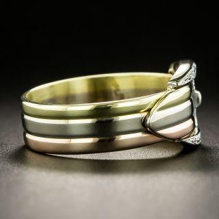 Estate Tri-Tone Diamond Buckle Ring
