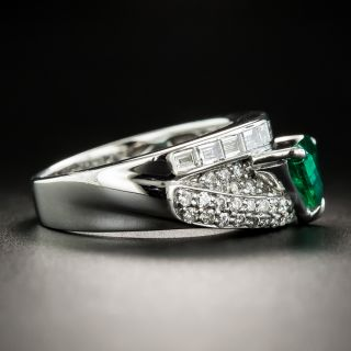 Estate Triangular 1.03 Carat Emerald and Diamond Ring