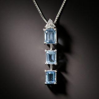Estate Triple Aquamarine and Diamond Pendant - 3