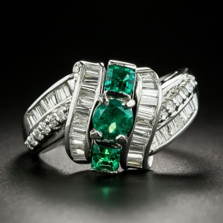 Estate Triple Row Emerald and Diamond Ring - 2