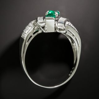 Estate Triple Row Emerald and Diamond Ring