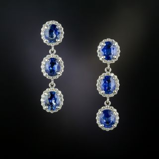 Estate Triple Sapphire Drop With Diamond Halo Earrings - 3