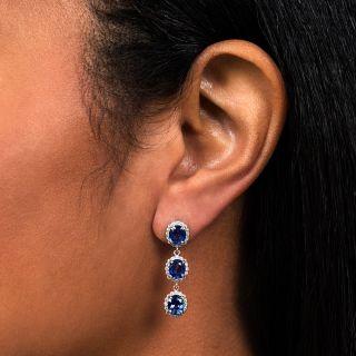 Estate Triple Sapphire with Diamond Halo Drop Earrings