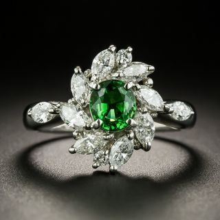 Estate Tsavorite Garnet and Diamond Spray Ring - 2