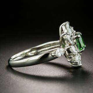 Estate Tsavorite Garnet and Diamond Spray Ring