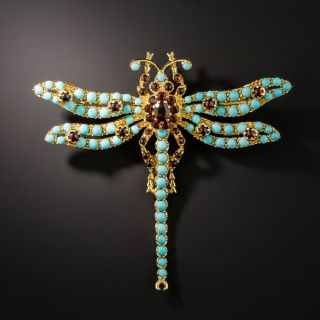 Estate Turquoise and Garnet Dragonfly Brooch - 2