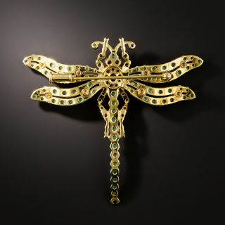 Estate Turquoise and Garnet Dragonfly Brooch