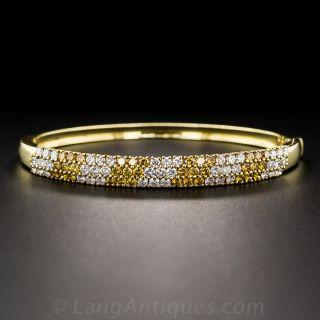 Estate White Diamond and Fancy Golden Diamond Bangle Bracelet