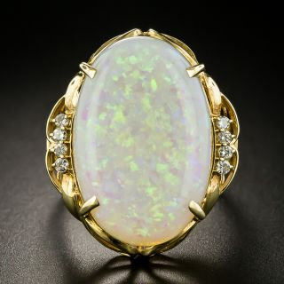 Estate White Opal and Diamond Cocktail Ring - 1