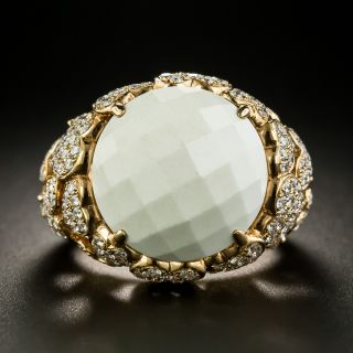 Estate White Quartz and Diamond Heart Motif Ring - 2