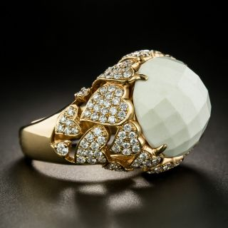 Estate White Quartz and Diamond Heart Motif Ring