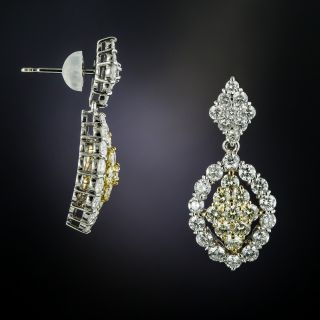 Estate White & Yellow Diamond Drop Earrings - 1