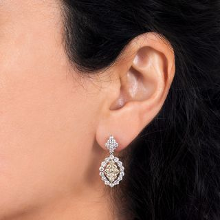 Estate White & Yellow Diamond Drop Earrings
