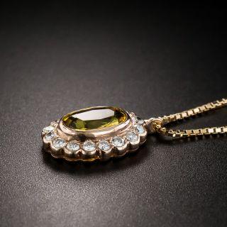 Estate Yellow Sapphire Diamond Pendant Necklace