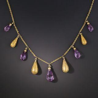 Etruscan Revival Amethyst Briolette Fringe Necklace - 2