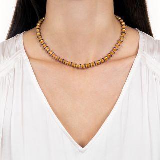 Etruscan Revival Amethyst Rondelle Necklace
