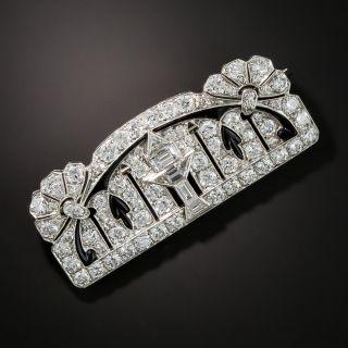 Exceptional Art Deco Platinum Diamond Onyx Brooch - 2