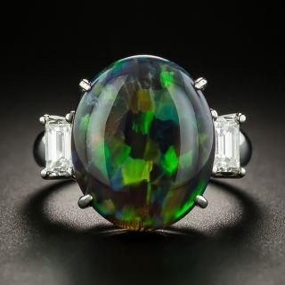 Extraordinary 8.35 Carat Black Opal and Diamond Ring - 2