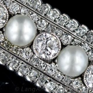 Extraordinary Natural Pearl and Diamond Bar Brooch
