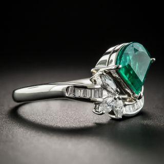 Fan-Shaped 1.68 Carat Emerald and Diamond Ring