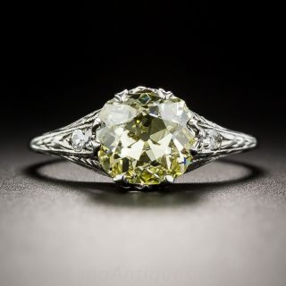 Fancy Intense Yellow 2.02 Carat Cushion-Cut Diamond Art Deco Solitaire