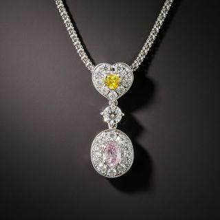 Fancy Pink and Yellow Diamond Pendant - 1