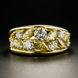 Fancy Yellow and White Diamond Band Ring - 2