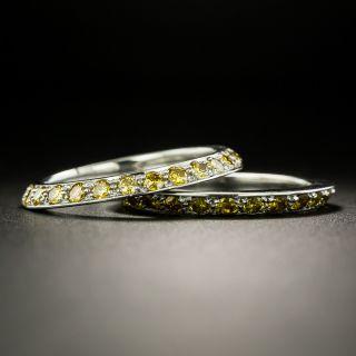 Fancy Yellow Diamond Platinum Guard Bands, Size 5 1/2 - 1