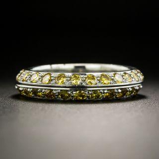 Fancy Yellow Diamond Platinum Guard Bands, Size 5 1/2
