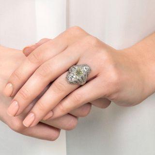 Fancy Yellow Square Step Cut Diamond Art Deco Platinum Dinner Ring