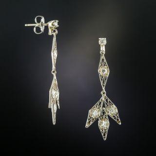 Filigree Diamond Drop Earrings - 2