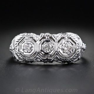 Filigree Three-Stone Diamond Ring