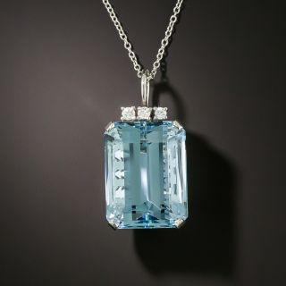 Fine 19.50 Carat Aquamarine and Diamond Pendant Necklace - 4