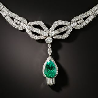 Fine 2.97 Carat Colombian Emerald and Diamond Necklace - 2