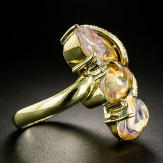 Free-Form Mexican Opal and Diamond Ring