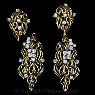 Freeform Diamond and Yellow Gold Earrings