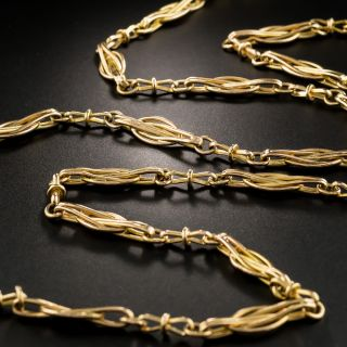 French 18K Rosy Yellow Gold Chain Necklace