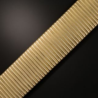 French 18K Wide Gaspipe Bracelet