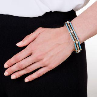 French Antique Diamond Enamel and Pearl Bracelet