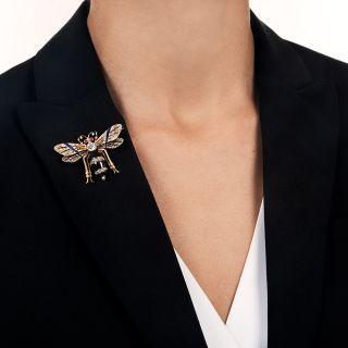 French Antique Diamond Garnet Wasp Brooch