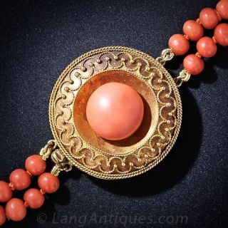 French Antique Double Coral Strand with Victorian Etruscan Revival Clasp